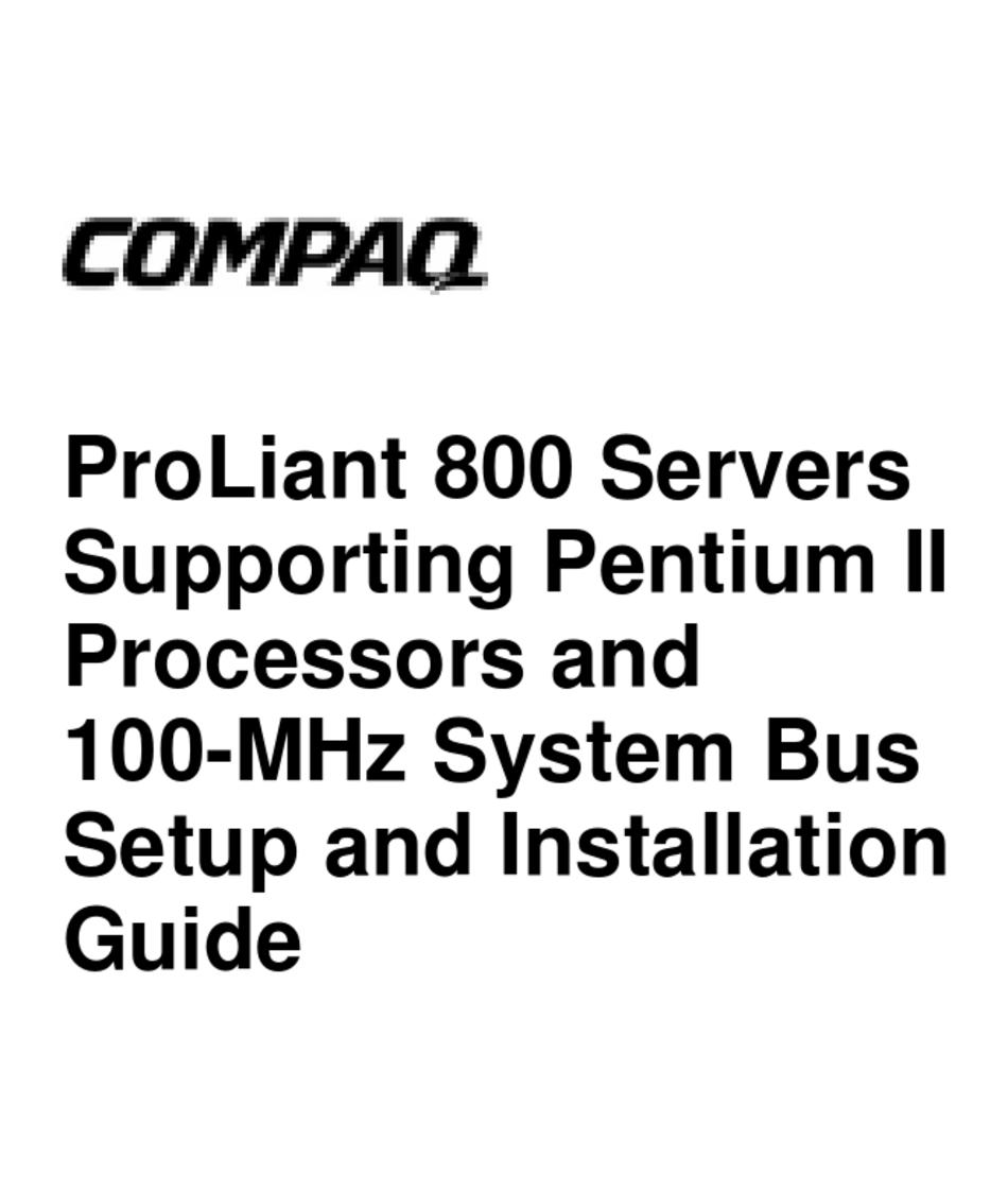 COMPAQ PROLIANT 800 SETUP AND INSTALLATION MANUAL Pdf