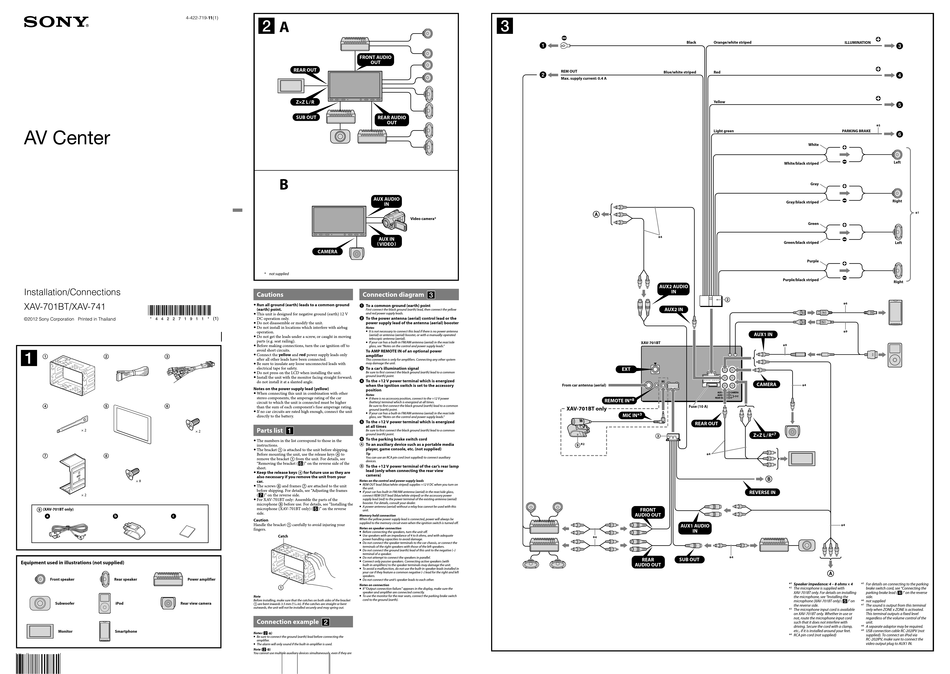 SONY XAV-701BT INSTALLATION/CONNECTIONS Pdf Download