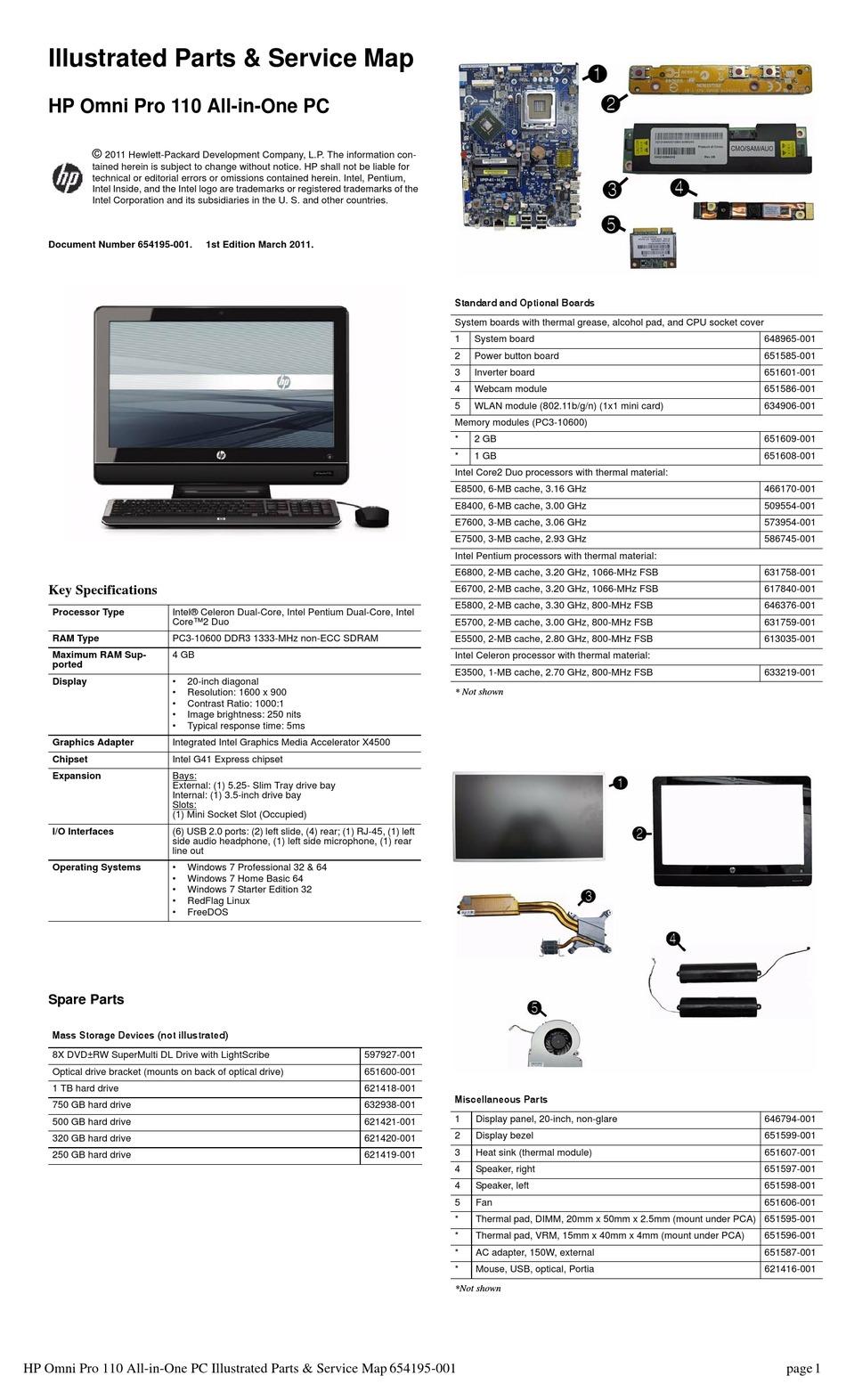HP OMNI PRO 110 ILLUSTRATED PARTS & SERVICE MAP Pdf