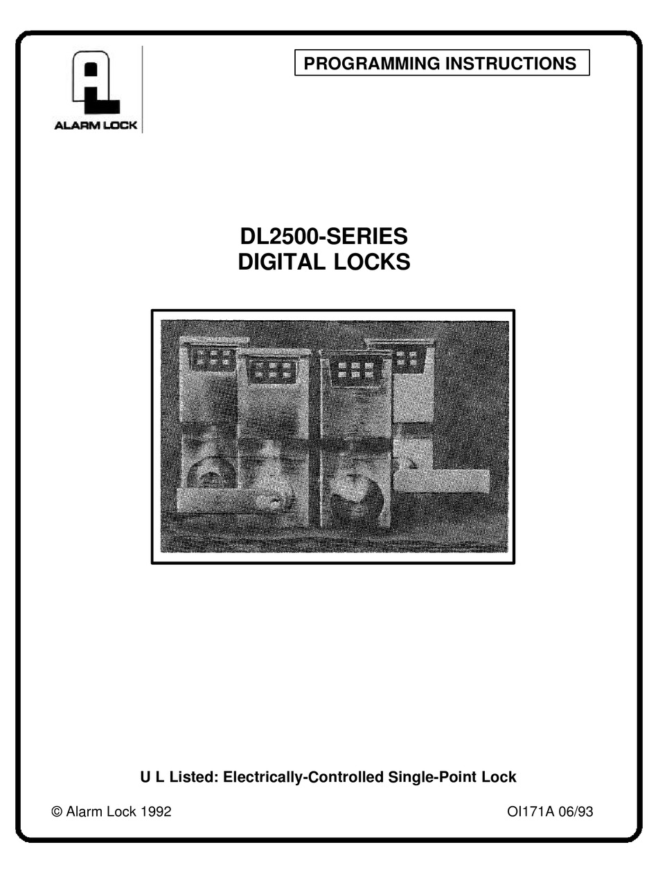 ALARM LOCK DL2500-SERIES PROGRAMMING INSTRUCTIONS MANUAL