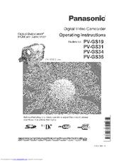 Panasonic Digital Paimcorder MultiCam PV-GS35 Manuals