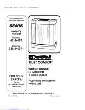 Kenmore Sears 758.144071 Quiet comfort Manuals