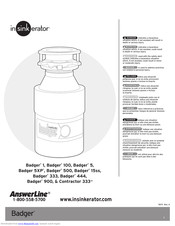 InSinkErator Badger 500 Manuals and User Guides, Garbage...