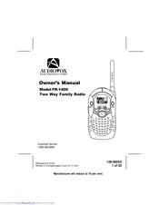 Audiovox FR-1400 Manuals