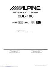 Alpine CDE-100 Manuals