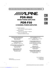 Alpine PDR-F50 Manuals
