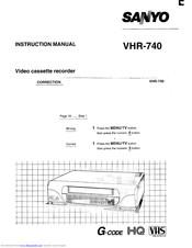 Sanyo VHR-740 Manuals