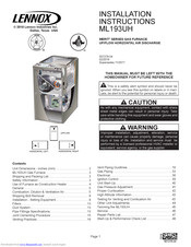Lennox ML193UH Manuals