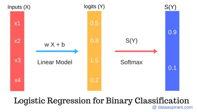 logistic regression model for binary classification