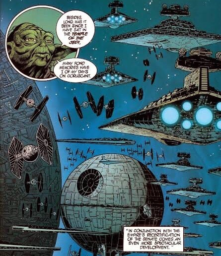 The Death Star surrounded by space ships in space with Yoda talking.