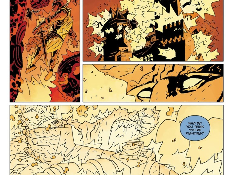 In 'Hellboy: The Wild Hunt Chapter 7' (2009), Hellboy punches out a giant in his refusal to wield Excalibur to save the world.