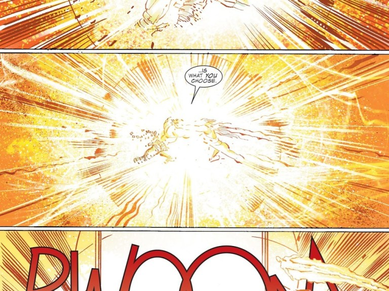 """In 'World War Hulk #5', Sentry (with """"the power of a billion exploding suns"""") and World Breaker Hulk punch each other so hard that they revert to their human forms."""