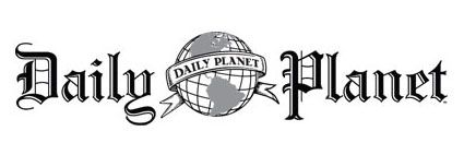 Look! The Daily Planet logo with the Earth globe at the center.