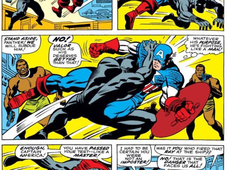 In 'Captain America #100' (1968), Black Panter tests Captain America in a fight in Wakanda.