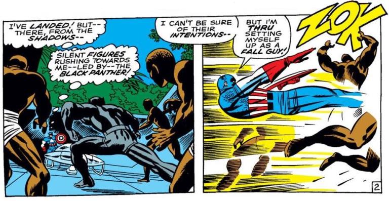 In 'Captain America #100' (1968), Captain America attacks Black Panther's men in Wakanda.