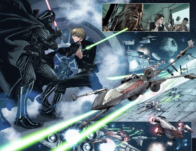 In 'Shattered Empire #1' (2015), the struggle of the Rebel Alliance against the Empire.