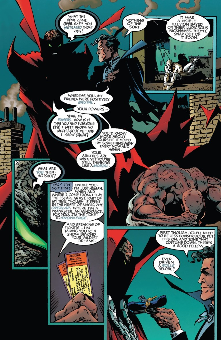 In 'Spawn (1994) #19, Harry Houdini conjures two tickets to the Columbia University East-West Atomic Warfare Conference.