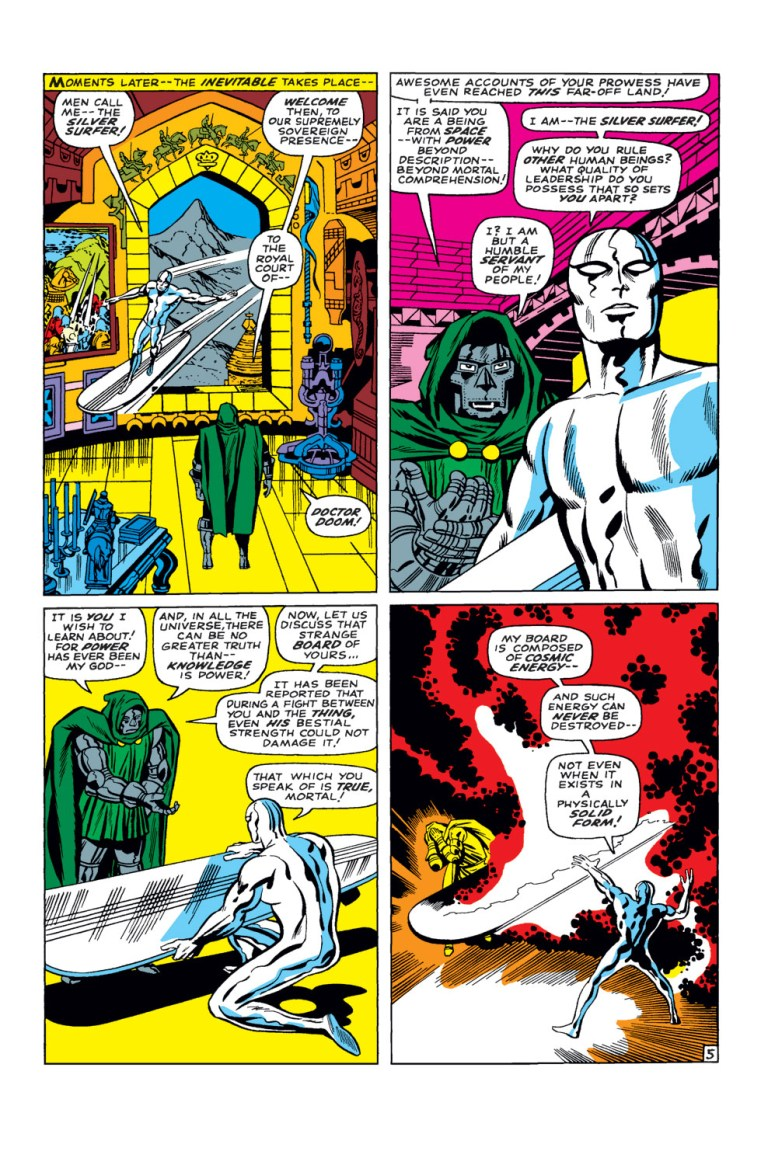 """In 'Fantastic Four' (1968) #57, Silver Surfer explains to Doctor Doom that his surf board is made of """"cosmic energy."""""""