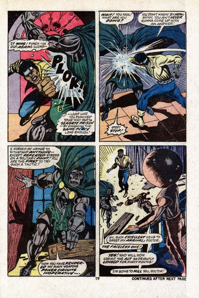 In 'Hero For Hire' (1973) #9, Luke Cage damages Doctor Doom's armor with repeated punches.