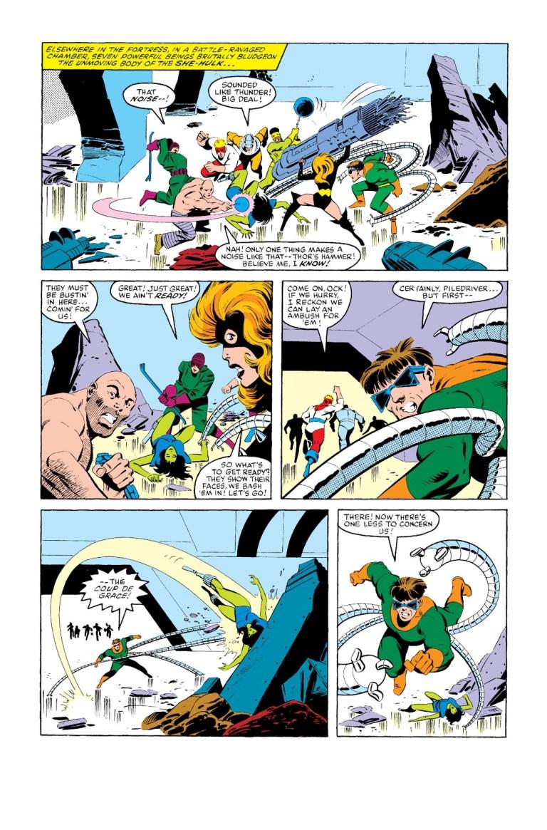 In 'Marvel Super Heroes Secret Wars' (1984) #8, the villains pummel She-Hulk at Doombase.