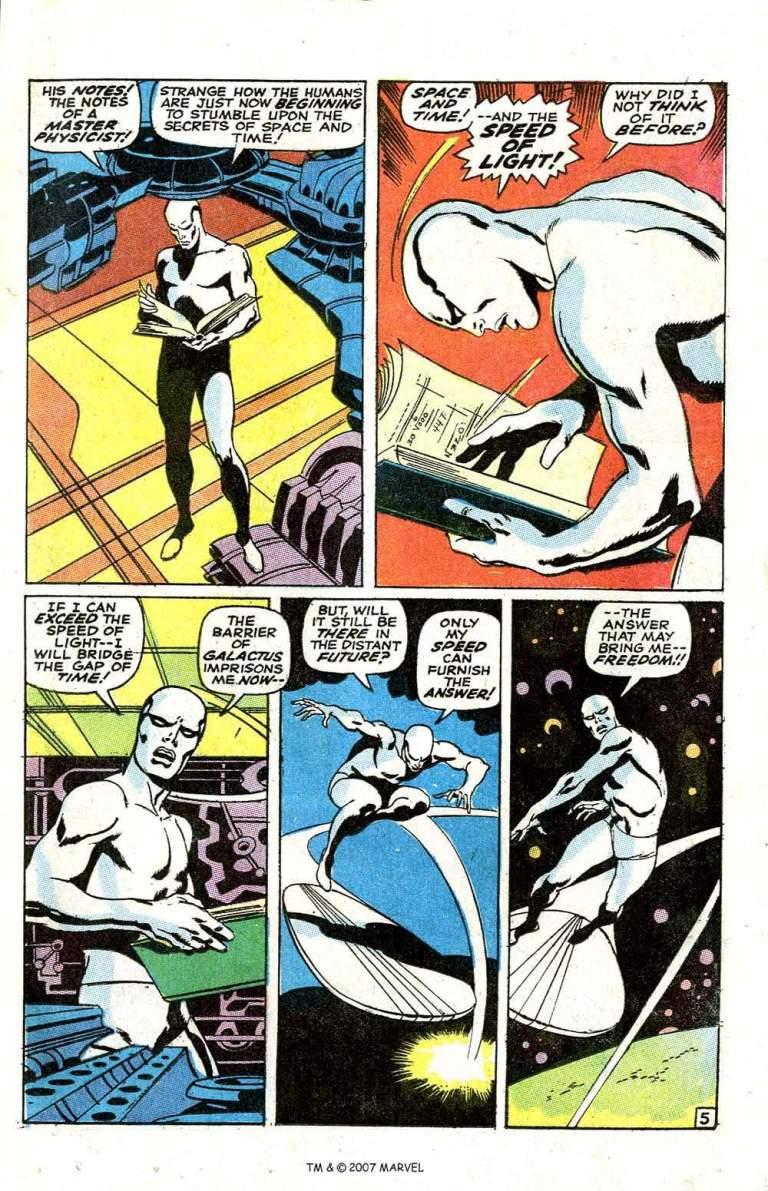 In 'Silver Surfer' (1969) #6, Silver Surfer finds Al B. Harper's notes on time travel.