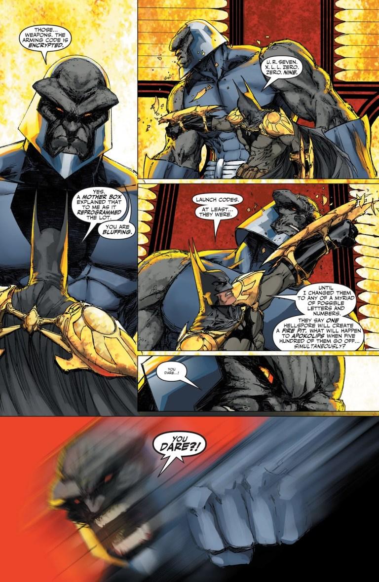 In 'Superman/Batman' (2004) #12, Batman re-programs the hell spores on Apokolips using the Mother Box.