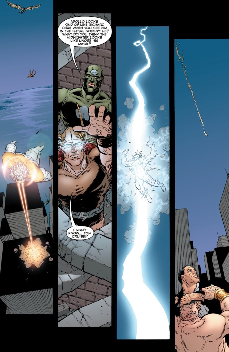 """he Authority' (2000) #14, Storm-God blasts Apollo with an """"ionized particle strike."""""""