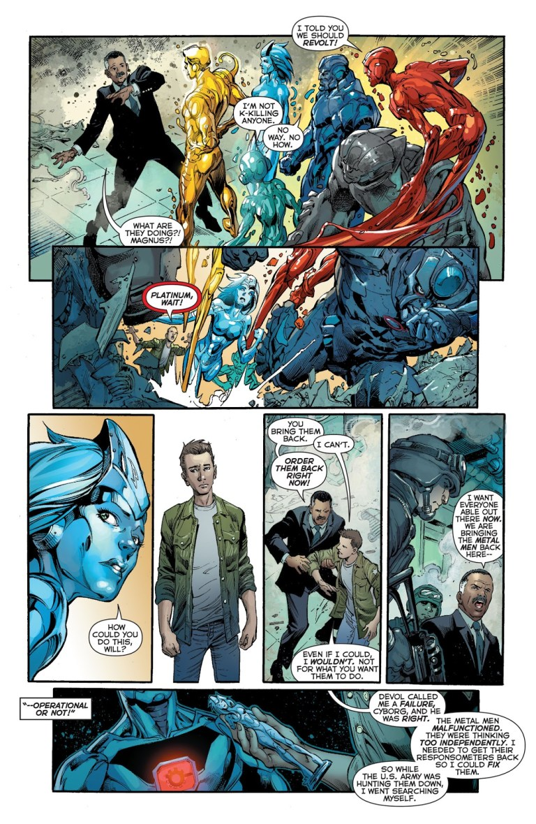 In 'Justice League' (2014) #28, the Metal Men escape the United States Army Research Laboratory.