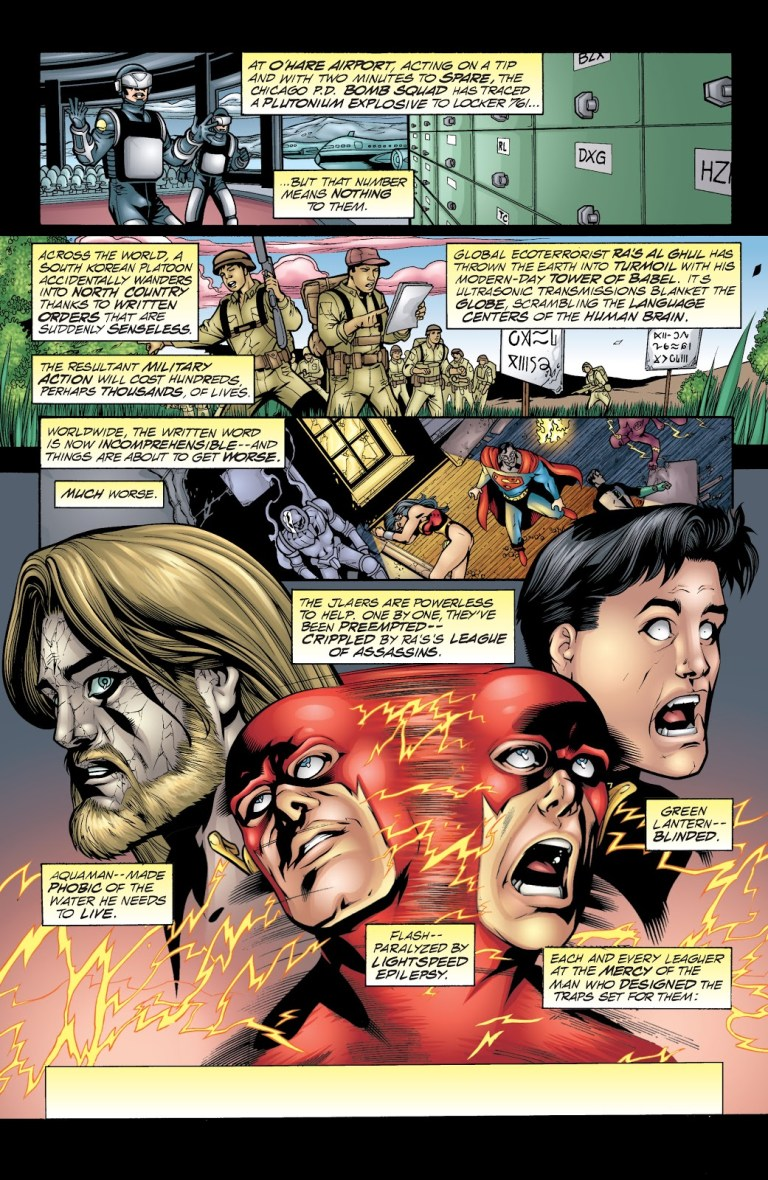 In 'JLA' #45, Batman's mad science leads to Ra's Al Ghul implementing the Tower Of Babel plan for world domination.