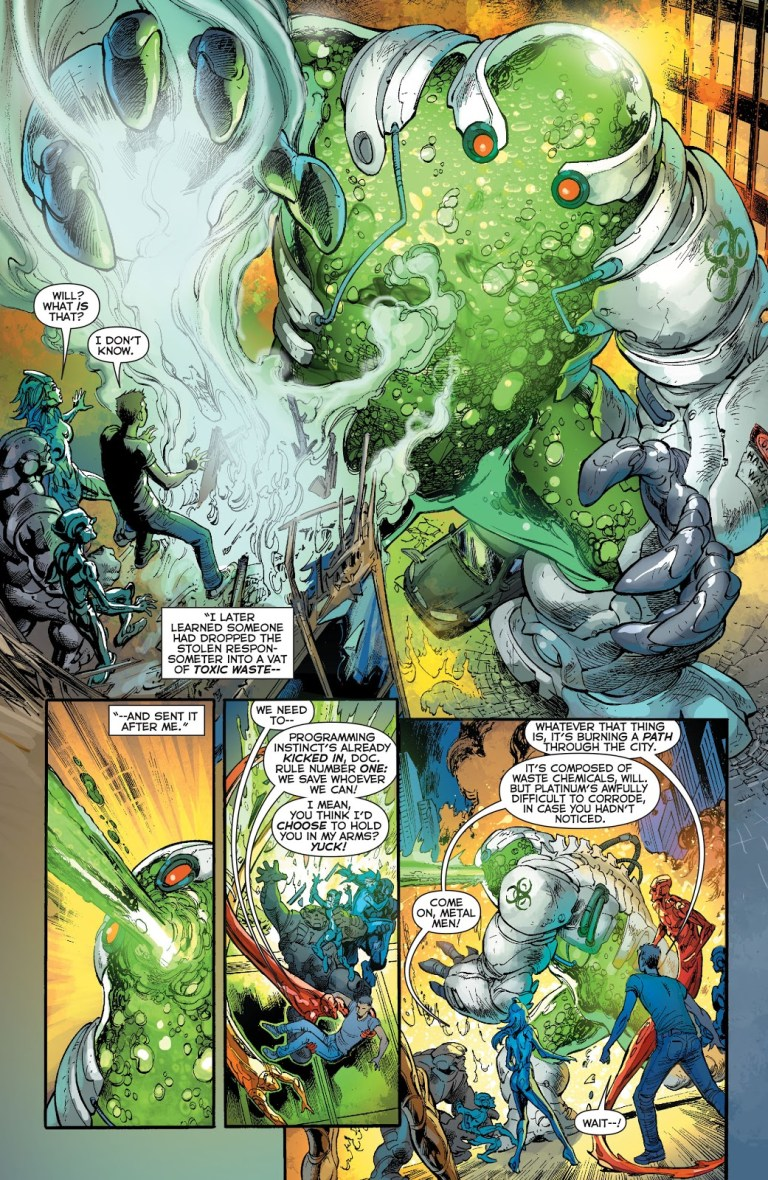 In 'Justice League' (2014) #28, the Metal Men go on their first mission. They face the monstrous menace of Chemo.