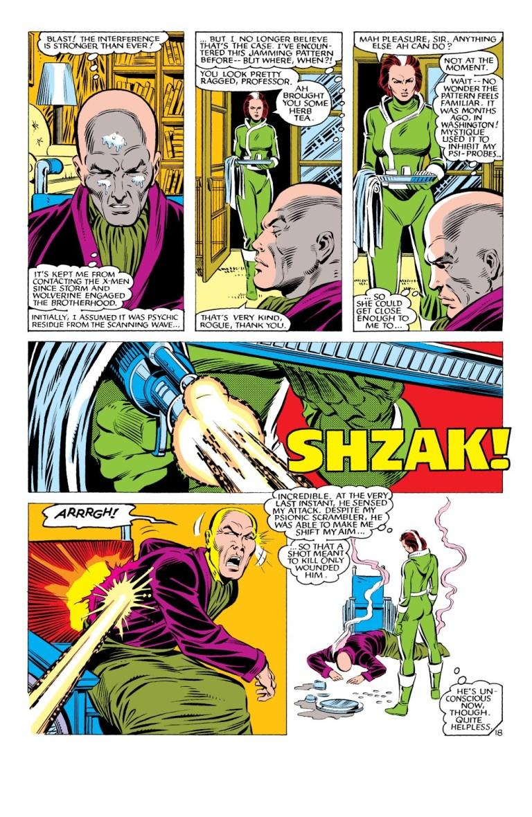 In 'Uncanny X-Men' (1984) #178, Mystique metamorphs into Rogue to fool Professor X and shoots him.