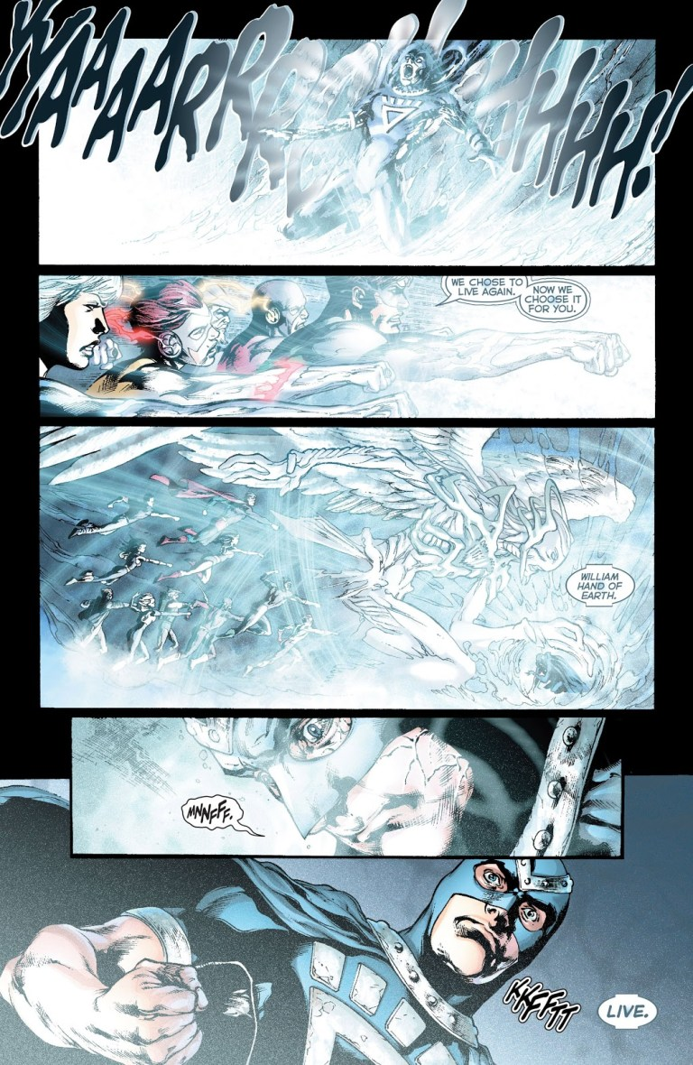 In 'Blackest Night' (2010) #8, the White Lantern Corps performs an energy projection feat. The White Lantern Corps pulverizes Nekron with a powerful blast of white light of the Emotional Electromagnetic Spectrum.