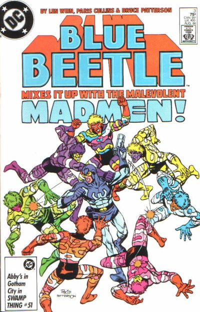 'Blue Beetle' (1986) #3, marks the first appearance of Prometheus in DC Post-Crisis continuity. On the cover image, Blue Beetle is fighting the Madmen who have encircled him.