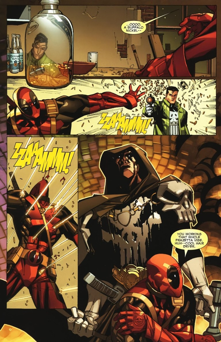 In 'Deadpool: Suicide Kings' (2009) #2, Punisher tracks down Deadpool because of an attack he was framed for.