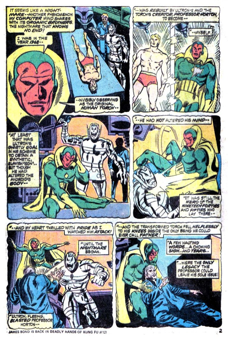 In 'Giant Size Avengers' (1975) #4, Vision ponders on his origin in 1968.
