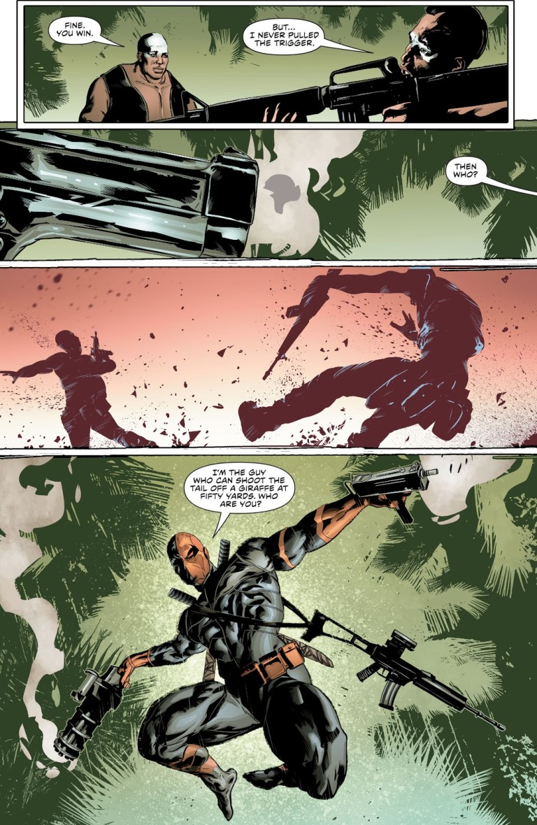 In 'Green Arrow' (2016) #51, wages a bloodthirsty war in the jungles of Nigeria, looking for Doctor Miracle.
