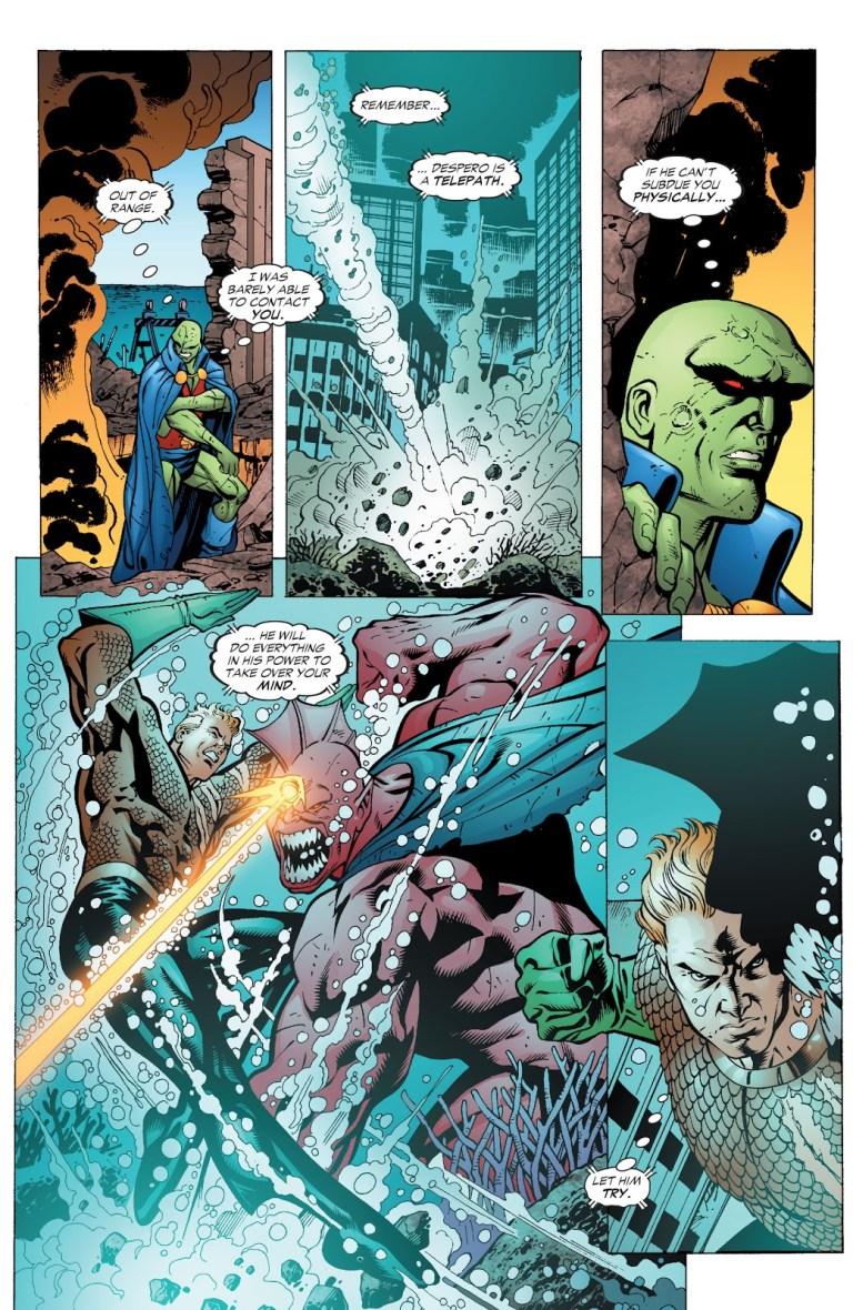 In 'JLA' (2006) #118, Aquaman performs a super strength feat. Aquaman punches Despero underwater.