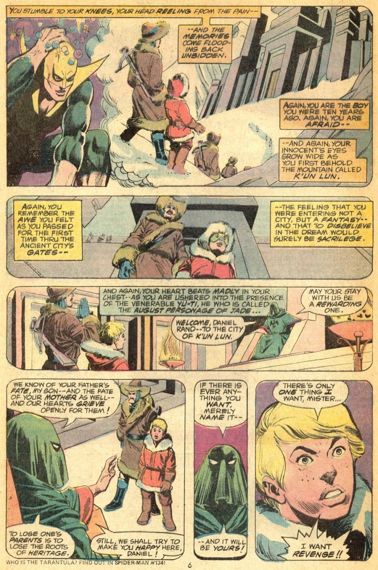 In 'Marvel Premiere' (1974) #16, the path of the warrior begins in the city of K'un Lun