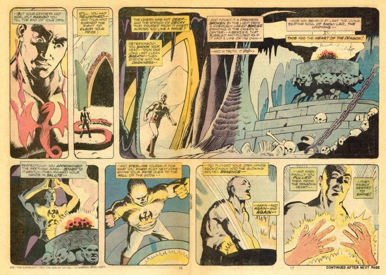 In 'Marvel Premiere' (1974) #16, Daniel Rand defeats Shou-Lao The Undying and conquers the Iron Fist.