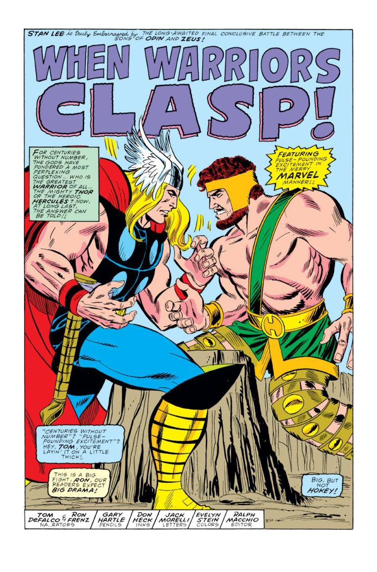 """In 'Thor' (1989) #400, Thor and Hercules arm wrestle to determine who is the """"greatest warrior of all!"""""""