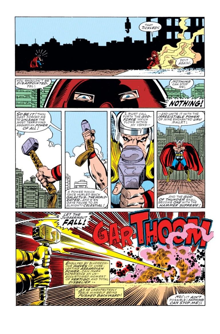 In 'Thor' (1989) #412, Thor unleashes the God Blast to push the Juggernaut backward!