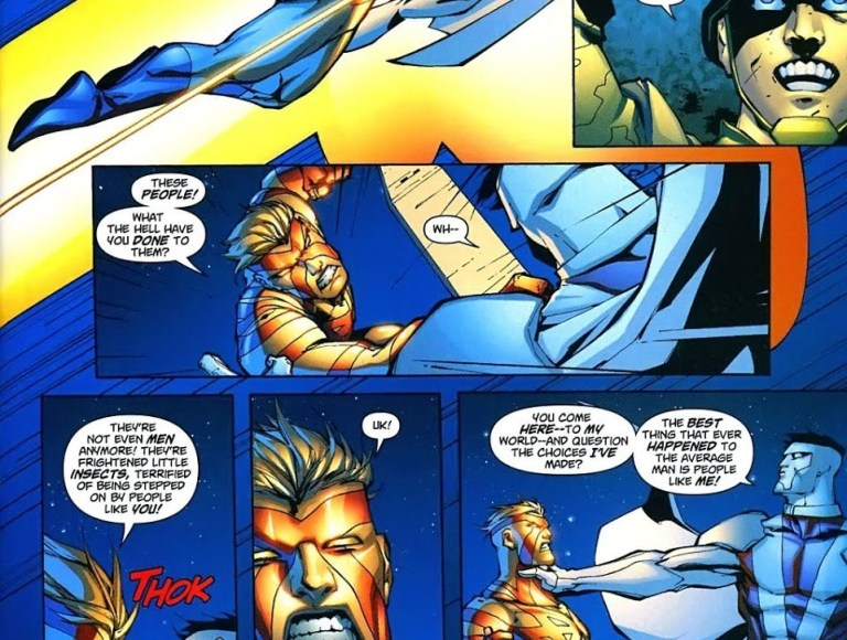 In 'Captain Atom: Armageddon' #3, Captain Atom engages in a second battle with Mister Majestic.