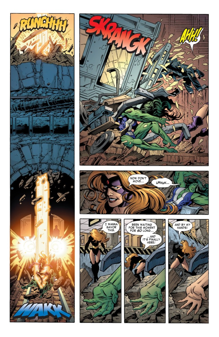 In 'She-Hulk' (2004) #11, Titania powered by the Power Gem knocks out She-Hulk at the ruins of Avengers Mansion who reverts to her Jen Walters form.