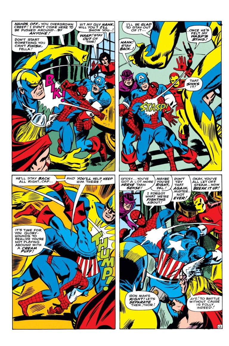 In 'Amazing Spider-Man Annual' (1966), Spider-Man loses it and fights the Avengers.