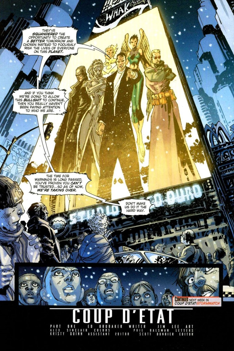 In 'Coup D'Etat' (2004) #1, the Authority takes over the U.S. government over its attempt to conquer the Bleed.
