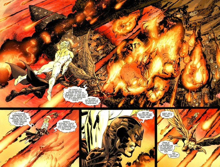 In 'Coup D'etat' (2004) #1, the shiftship's crew are falling on re-entry to Florida through hull breaches.