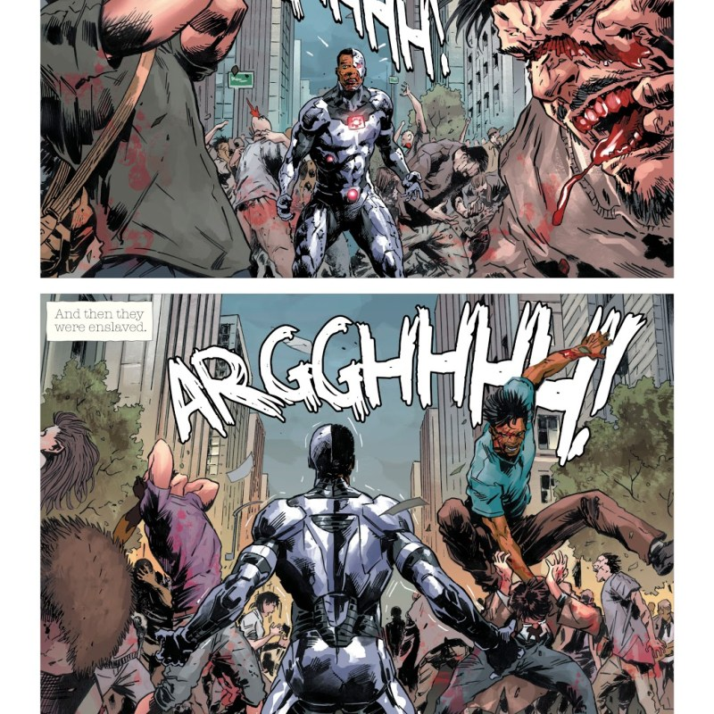 In 'DCeased' (2019) #1, Cyborg is infected with the Anti-Life Equation virus. Kneeling and helpless, Cyborg spreads the virus on Earth Prime.