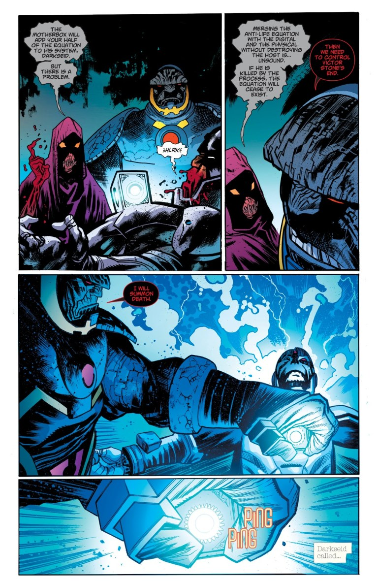 In 'DCeased' (1999) #1, Darkseid summons the Black Racer with the MotherBox in order to corrupt the Anti-Life Equation.