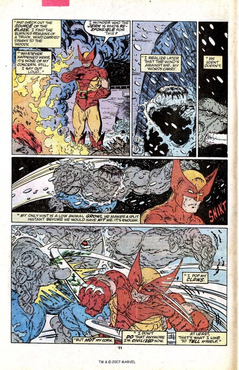 In 'Incredible Hulk' #340, Wolverine hunts down the Hulk who sneaks up behind him.