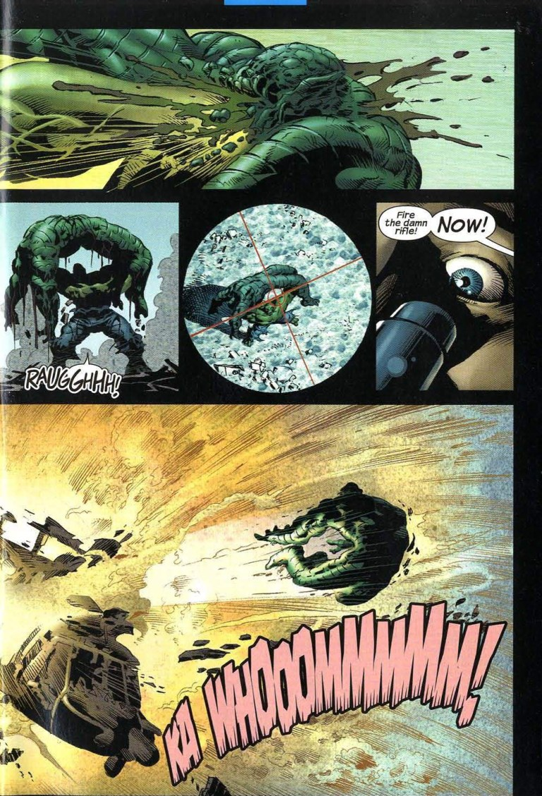 In 'Incredible Hulk' (2003) #54, Hulk performs a super strength feat. Hulk implodes Abomination's face with a punch.
